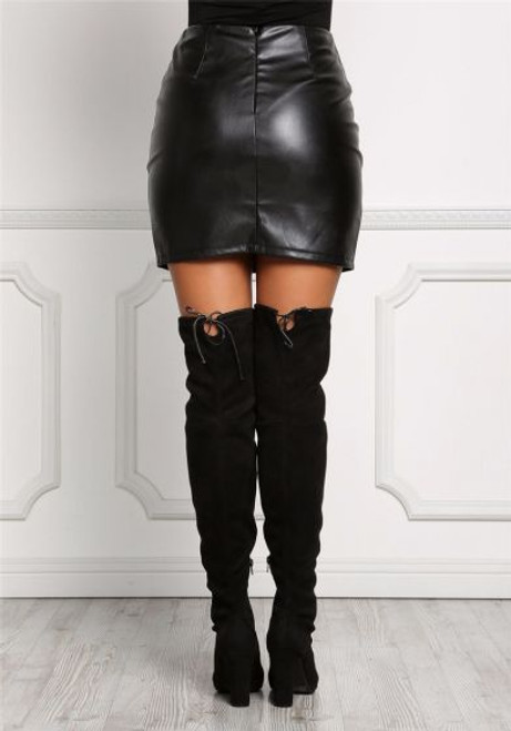 fb6714f03 Sexy Black Lace Up Faux Leather Skirt (13-202) - 5dollarfashions.com