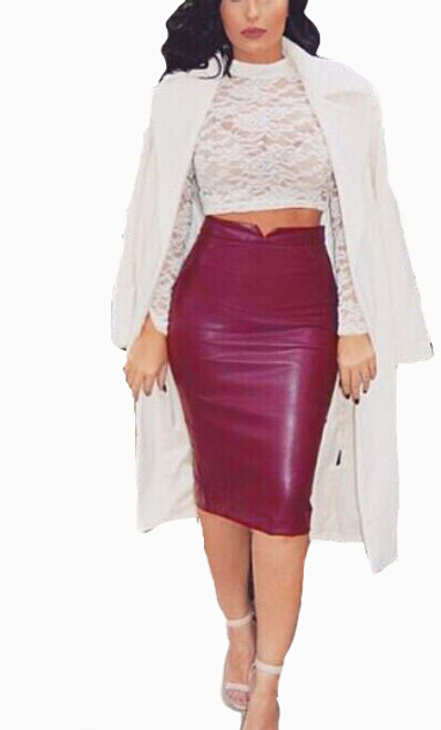 Classic Pencil Faux Burgundy Leather Skirt (13-204)