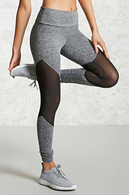 Gray Mesh Breathable Sport Leggings (13-206)