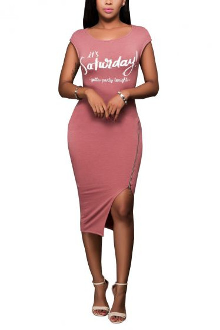 "Sexy Fitted ""It's Saturday"" Print  Pink Dress (13-212)"