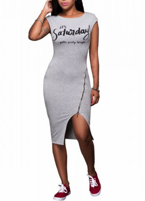 """Sexy Fitted """"It's Saturday"""" Print  Gray Dress (13-213)"""
