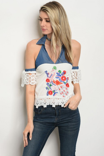 Halter Denim Floral Embroidery Top (27-6)