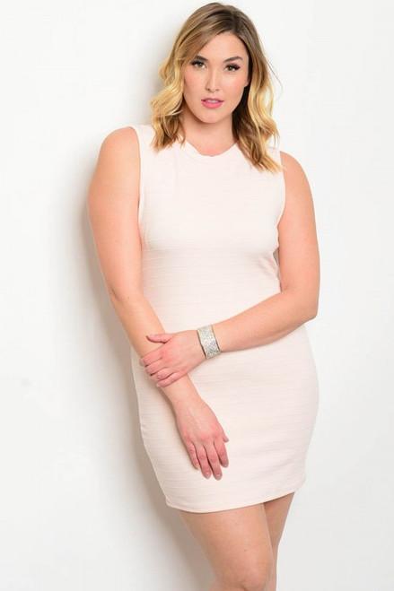 Plus Size Bodycon Light Peach Dress (27-11)