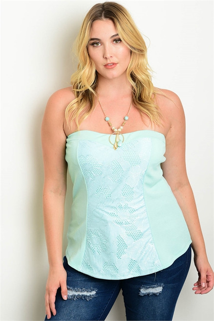 Sexy Plus Size Mint Tube Top (27-13)