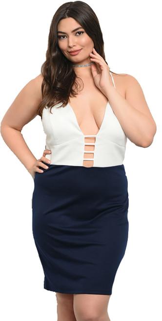 Sexy Plus Size Navy & Off White Dress (27-17)