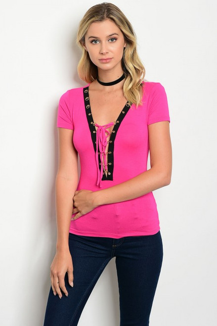Fitted Short Sleeve Fuchsia & Black Top (27-20)