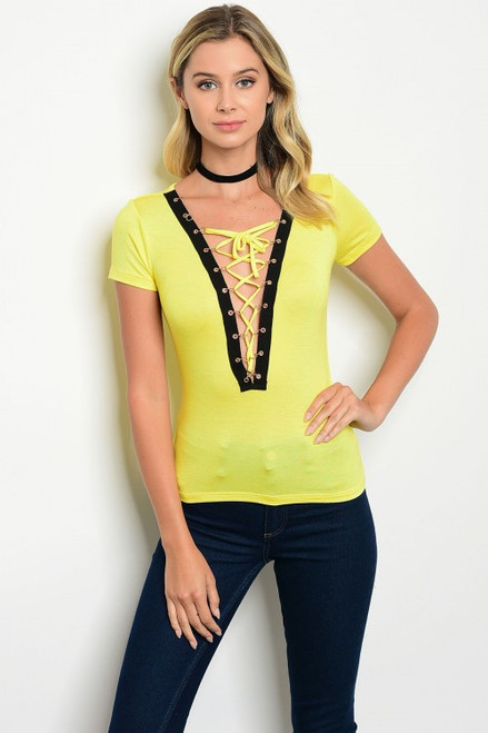 Fitted Short Sleeve Yellow & Black Top (27-21)