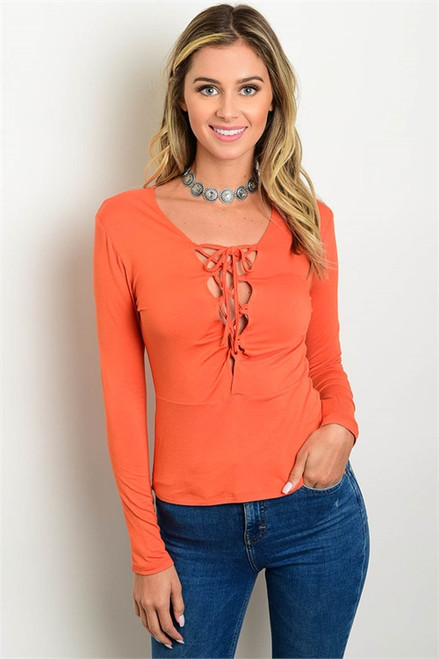 Long Sleeve Orange Lace Up Top (27-23)