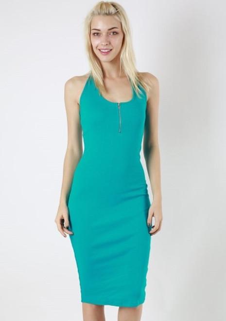 Halter Thin Ribbed Ocean Teal Dress (28-2)