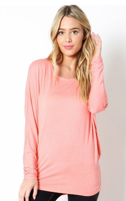 Soft & Comfy Long Sleeve Coral Top (28-10)
