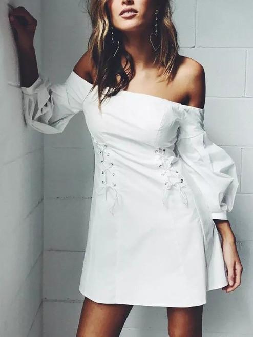 Mini Off Shoulder White LaceUp Dress (9-9)