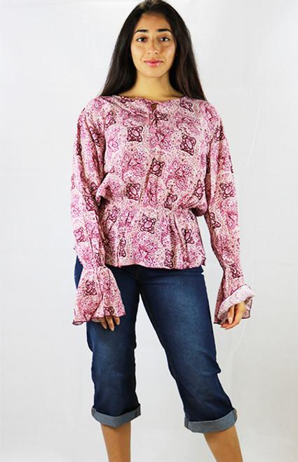 Raspberry Floral Long Sleeve Peplum Top (29-4)
