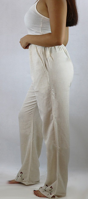 Floral Embroided Hem Natural Palazzo Pants (29-8)