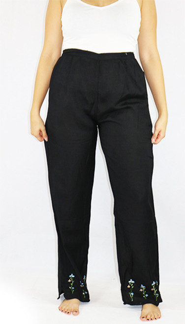 Floral Embroided Hem Black Palazzo Pants (29-10)