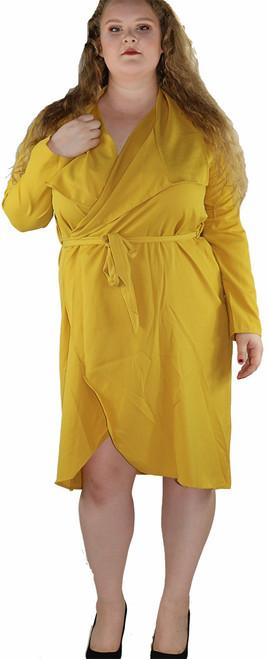 Plus Size Mustard Wrapped Self Tie Dress/Jacket (30-3)