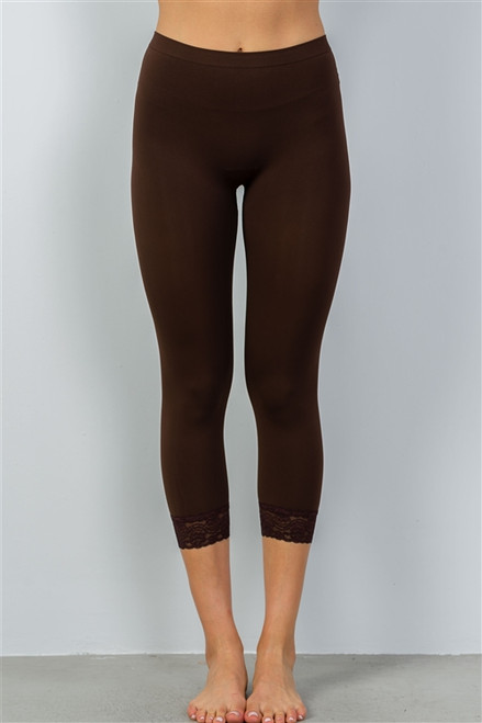 Chocolate Sport Yoga Capri Pants w/Lace Trim (30-6)