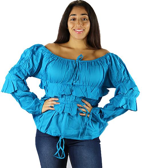 100% Cotton Off Shoulder Lightweight Ocean Blue Top (32-5)