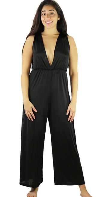 Sexy & Flirty Sleeveless V Neck Black Jumpsuit (32-11)