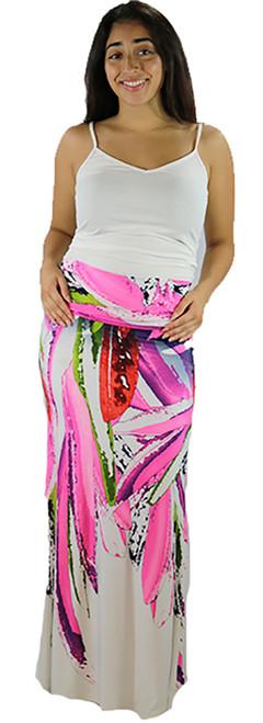 Soft Fuchisa/White Bright Maxi Skirt or Strapless Dress (32-15)