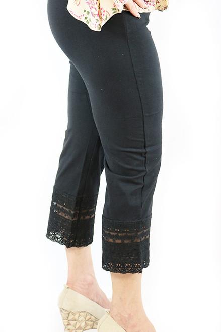 Cotton Black Capri W/Lace Design Sm-Plus Size (32-18)