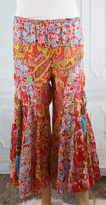 100% Cotton Blue/Orange Paisley Boho Pants (32-21)