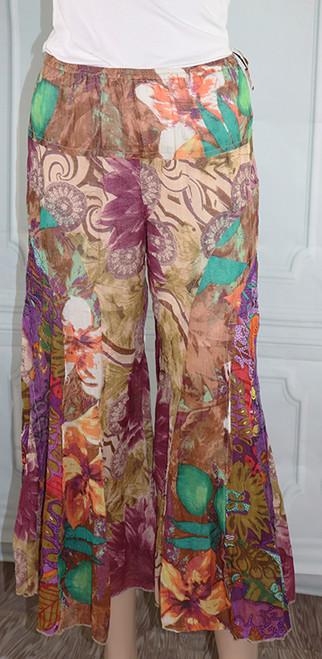 100% Cotton Multi Earth Tone Floral Boho Pants (32-28)