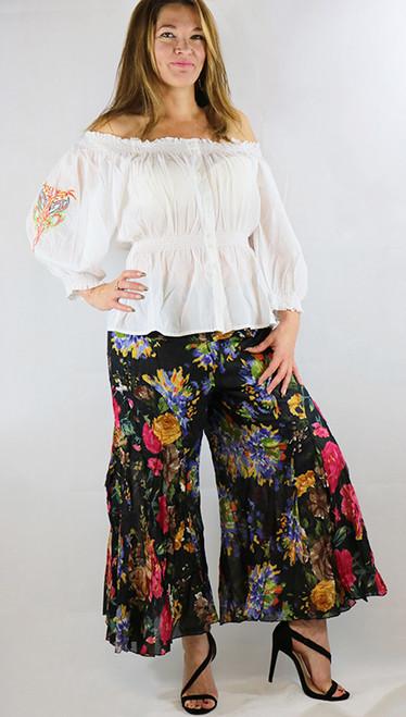 100% Cotton Black Floral Boho Pants (32-30)