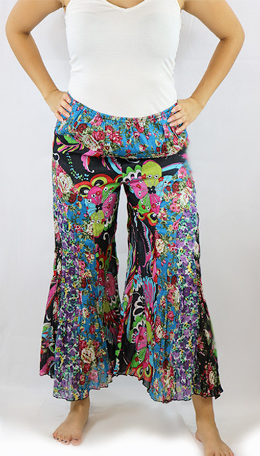 100% Cotton Black Retro Floral Boho Pants (32-31)