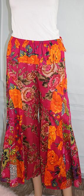 100% Cotton Raspberry & Orange Floral Boho Pants (32-32)