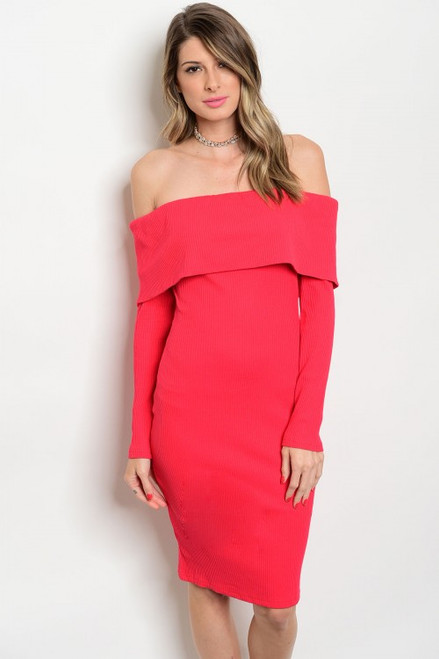 Classic Sexy Elegant Red Off Shoulder Ribbed Dress (36-3)
