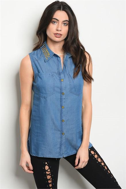 Sleeveless Denim Button Top w/Studded Collar (36-5)