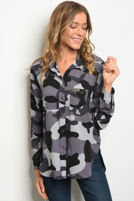 Color Me Crazy Gray Camouflage Button Blouse (36-12)