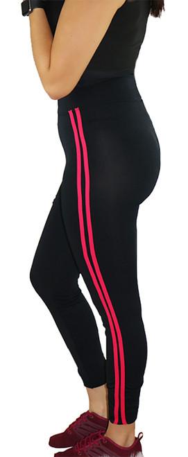 Black Sport Legging w/Rasberry Stripe (31-3)