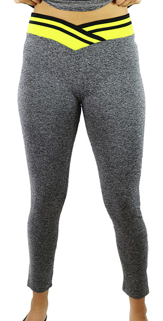 Gray Space-dyed w/Neon Yellow Sport Leggings (31-6)