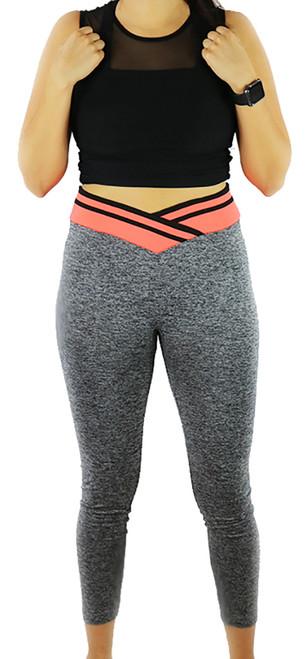 Gray Space-dyed w/Neon Orange Sport Leggings (31-7)