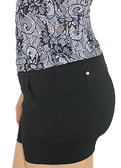 Black Cotton Workout Shorts Elastic Waist (31-21)