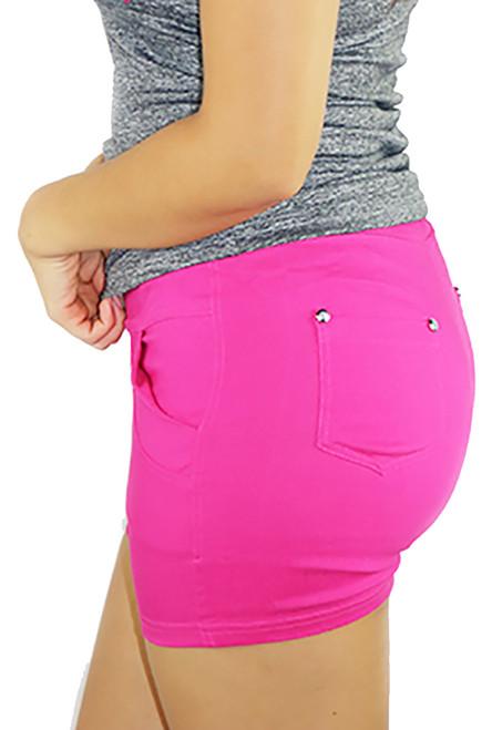 Hot Pink Cotton Workout Short Elastic Waist (31-22)