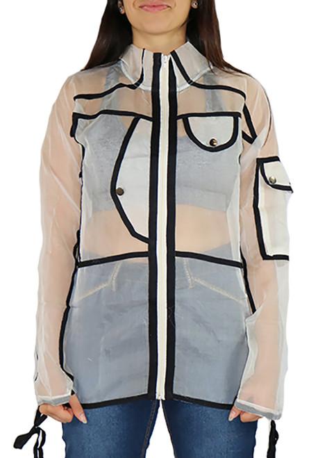 White Sheer Racer Jacket w/Black Trim (33-12)