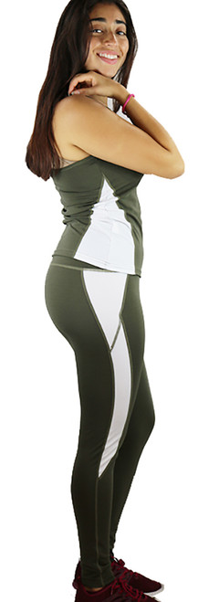 Two Pc Olivine & White Yoga Leggings & Top (37-1)