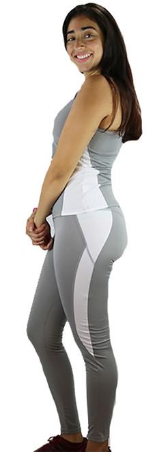 Two Pc Gray & White Yoga Leggings & Top (37-2)