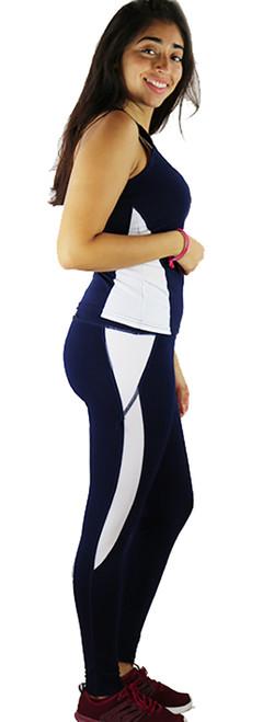 Two Pc Navy & White Yoga Leggings & Top (37-3)