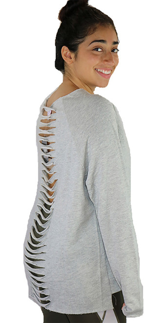 Gray Jersey Loose Fitting Distressed Top (37-4)