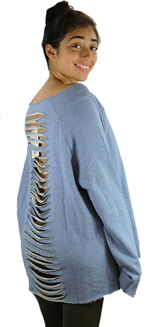 Blue Jersey Loose Fitting Distressed Top (37-5)