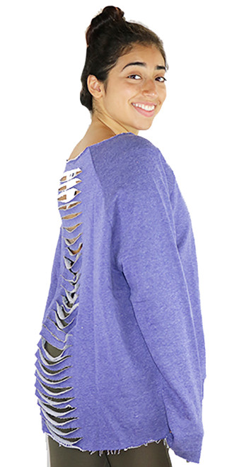 Lavender Jersey Loose Fitting Distressed Top (37-6)