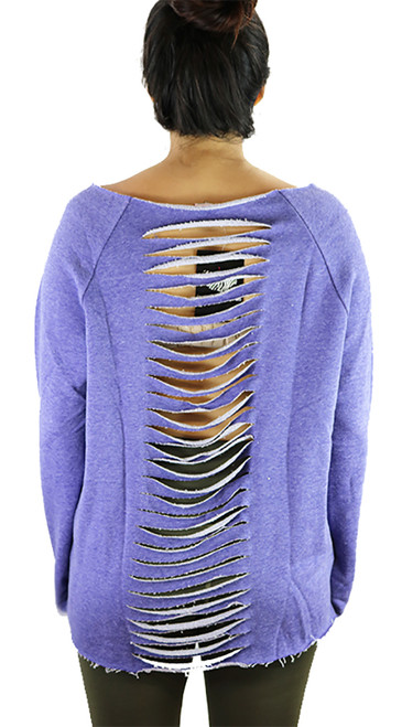 Lavender Jersey Oversized Fit Distressed Top (37-6)