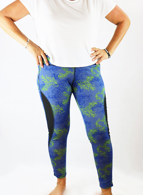 Blue Galaxy Print Yoga Sport Plus Size Leggings (37-11)