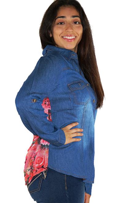 Denim Loose Fit Button Top w/Floral Chiffon Back (34-2)