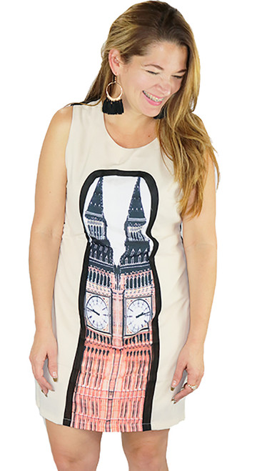 Sleeveless Chiffon Beige/Black Graphic Dress (34-5)