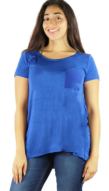 Comfy Royal Blue Tee w/Chiffon Pocket (34-7)