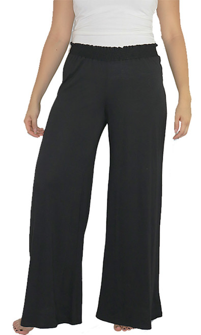 95% Rayon Comfy Loose Fit Black Palazzo Pants (34-12)